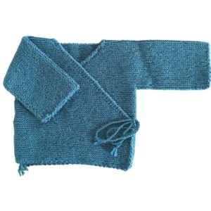 Brassière cache coeur laine 100% Mérinos bleu canard